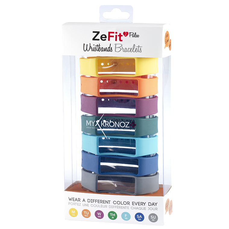 ZeFit2Pulse Wristbands x7 - 毎日違う色でスタイリング可能 - MyKronoz