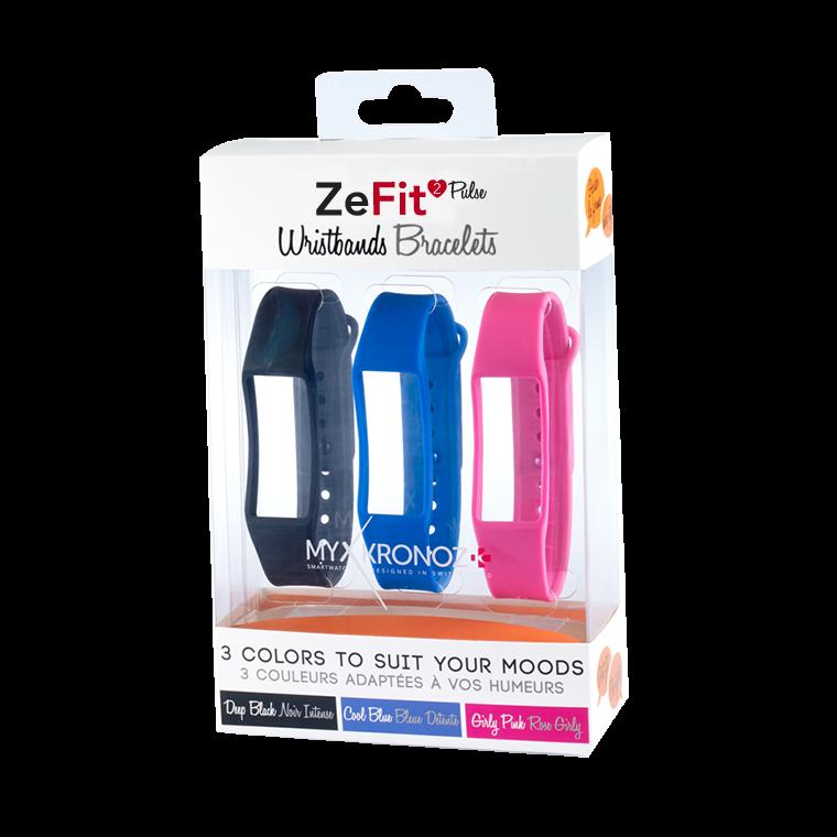 ZeFit2Pulse Wristbands x3 - 毎日違う色でスタイリング可能 - MyKronoz