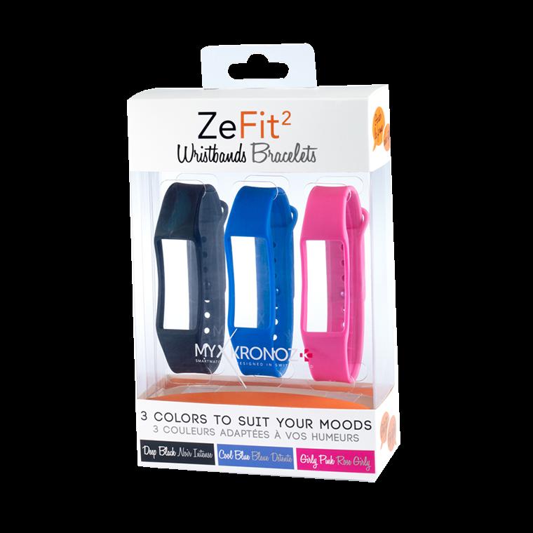 ZeFit2 Wristbands x3 - 毎日違う色でスタイリング可能 - MyKronoz