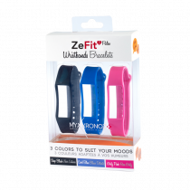 ZeFit<sup>2Pulse</sup> Wristbands x3 - Wear different colors every day - MyKronoz