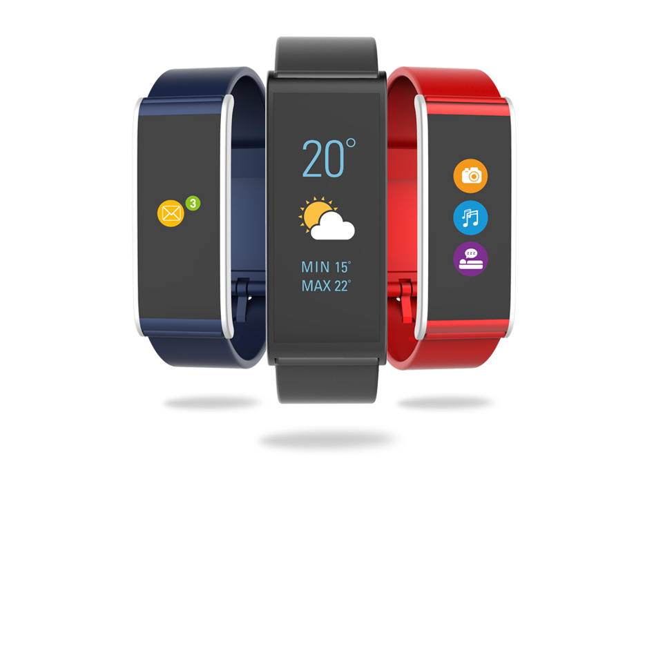 Activity trackers that display notifications, social media messages, calendar events and local weather forecast on color touch screen